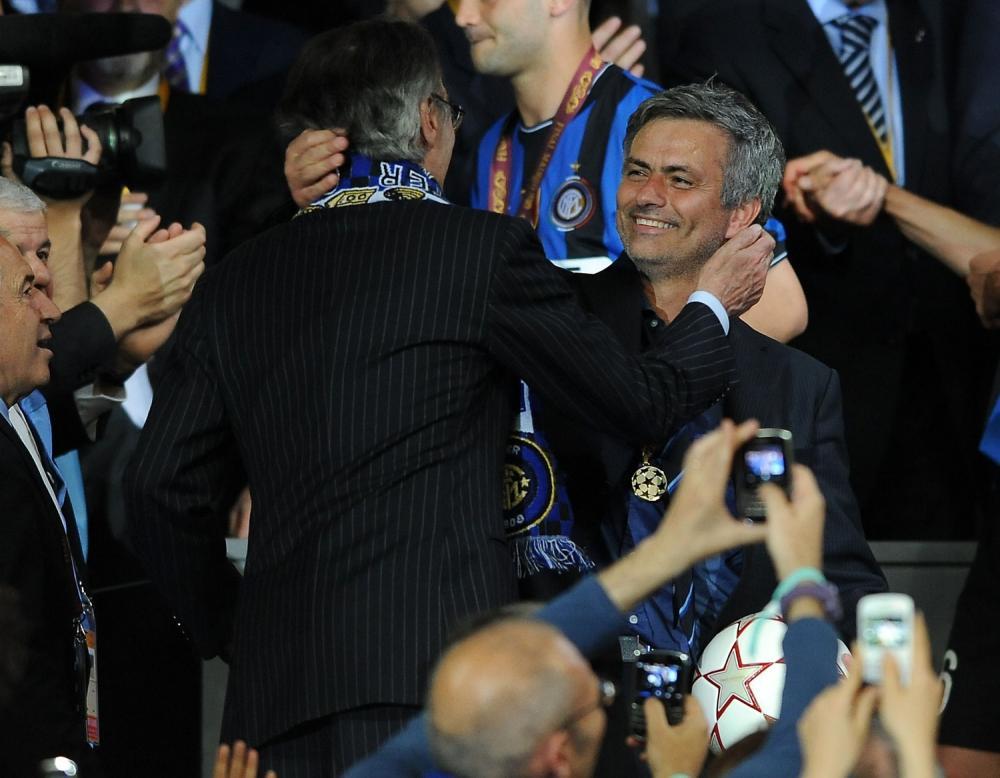 Champions League 2009/2010 Finale Madrid (Santiago Bernabeu) - 22.05.2010 FC Bayern Monaco- FC Inter Nella Foto:MOURINHO JOSE'-MORATTI MASSIMO /Ph.Vitez-Ag. Aldo Liverani