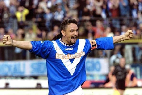 Roby Baggio con la maglia delle Rondinelle